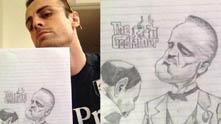 Бербатов със скицата си