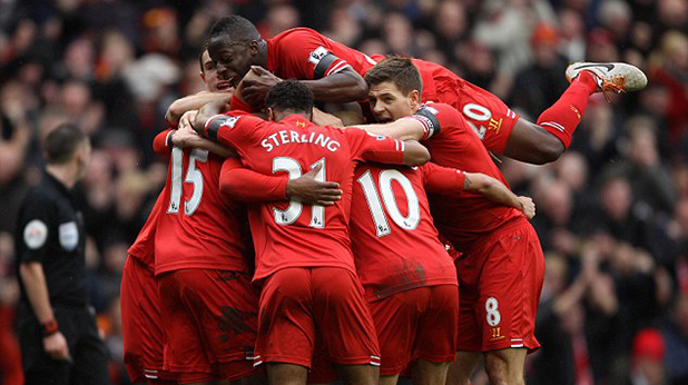 радост на ливърпул след 5-1 над Арсенал на анфийлд 8 фев 2014