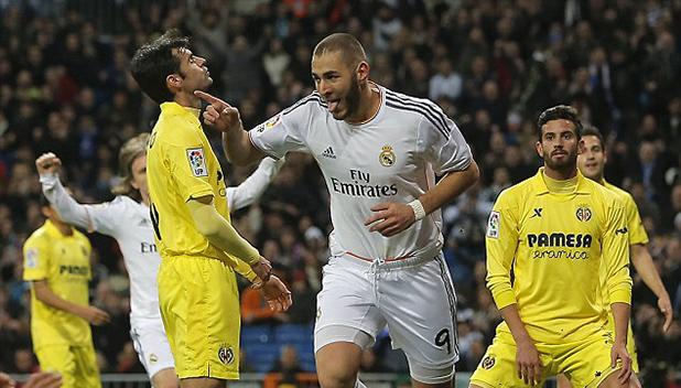 карим бензема два гола срещу виляреал при 4-2 на 8 фев 2014