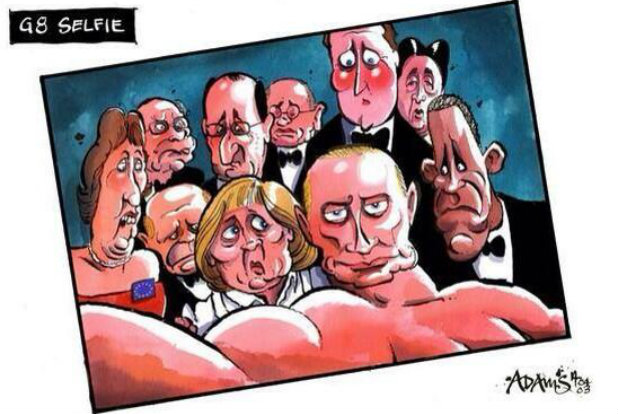 Големите 8 карикатура селфи