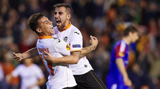 валенсия, алкасер, едуардо варгас 5-0 срещу Базел, април 2014