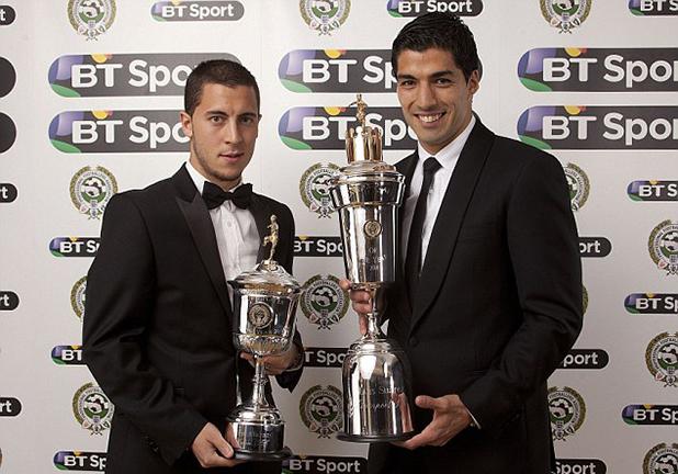 Луис Суарес е Футболист на годината 2014, Еден Азар е младок на годината