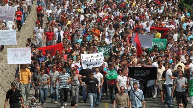 Албанци на протест в Скопие