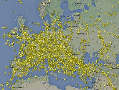 Актуална към 9 часа информация за полетите над Европа / FlightRadar24