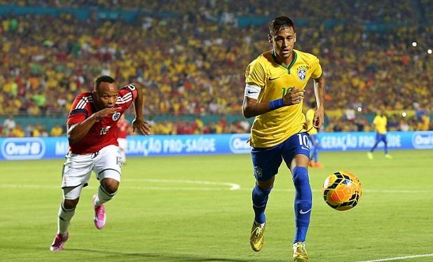 неймар първи мач като капитан на бразилия - 1-0 над колумбия в контрола в маями с негов гол, 6-ти септ 2014