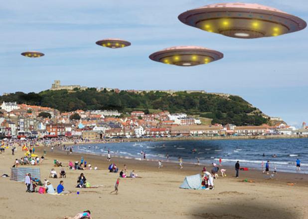 Вестник Sun съобщава новината че Scarborough е НЛО столица на Великобритания с ето това изображение