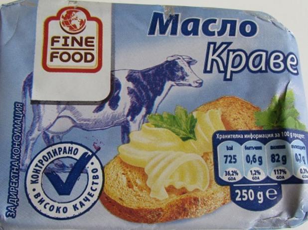 Краве масло Finefood в тест за съдържание на немлечни мазнини
