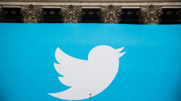 Входа на стоковата борса в Ню Йорк, в деня, в който Twitter влиза на борсата