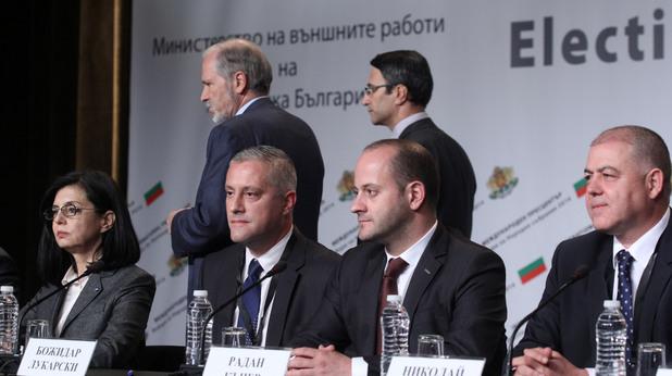 Меглена Кунева, Божидар Лукарски, Радан Кънев и Николай Ненчев от Реформаторски блок в изборната нощ