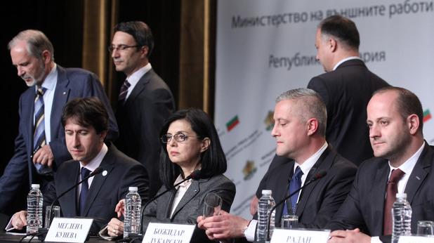 Меглена Кунева, Божидар Лукарски, Радан Кънев и Корман Исмаилов от Реформаторски блок в изборната нощ