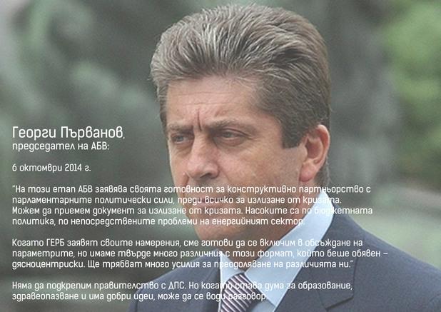 председателят на абв георги първанов след парламентарните избори на 5 октомври