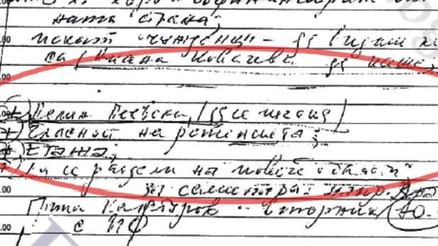 """фрагмент от изтеклите във """"фактор"""" страници от тефтера на филип златанов"""