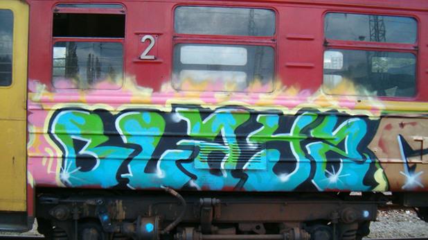 графити, влак