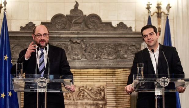 Алексис Ципрас и Мартин Шулц