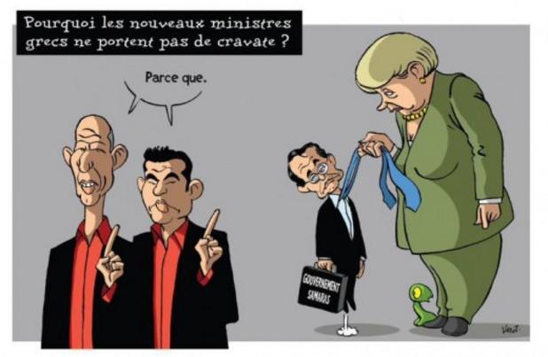 Карикатура - Меркел и Сириза