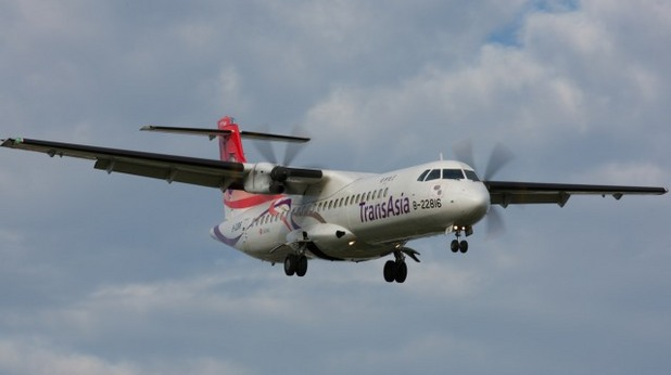 Турбовитлов самолет ATR 72-600 на тайванската авиокомпания TransAsia Airways  B-22816 - заснет през декември