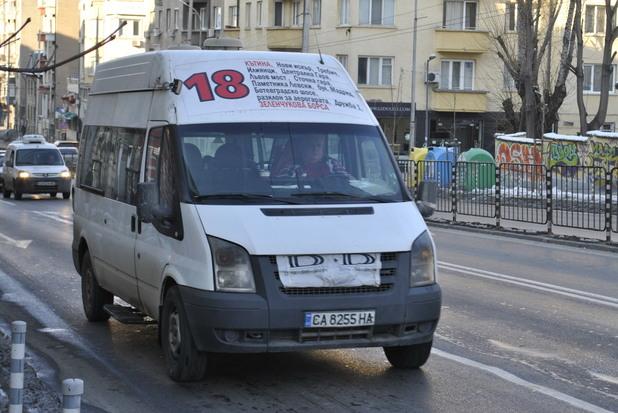 Маршрутка 18 в София на булевард Васил Левски