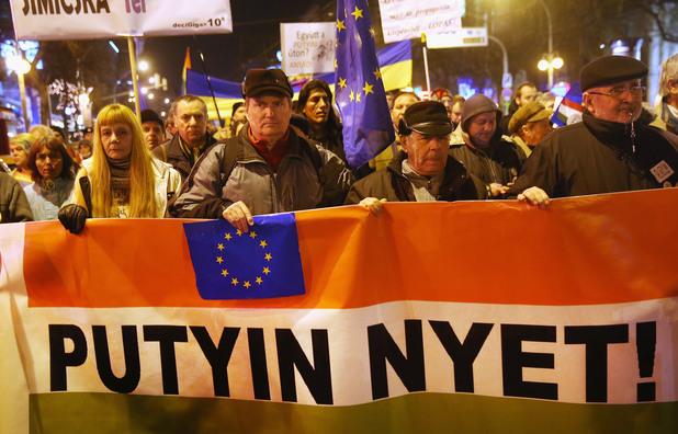 Протест в Будапеща срещу визитата на руския президент Владимир Путин