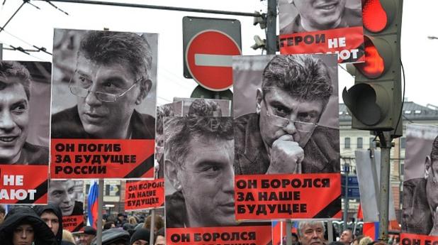 Шествие в центръра на Москва след убийството на опозиционния лидер Борис Немцов