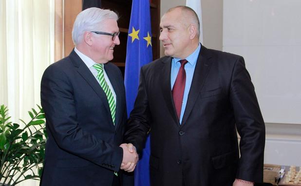 германският външен министър франк-валтер щайнмайер и министър-председателят бойко борисов