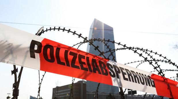 Протест пред новата сграда на ЕЦБ