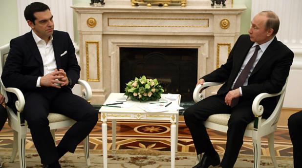 Лидерите на Гърция и Русия Алексис Ципрас и Владимир Путин
