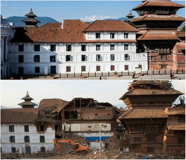 площадът Дурбар - преди и след земетресението