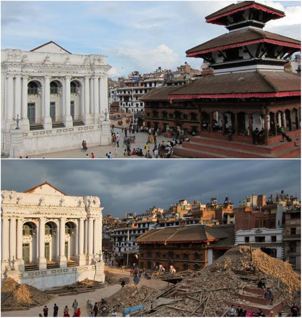 площадът Басантапур Дурбар - преди и след земетресението