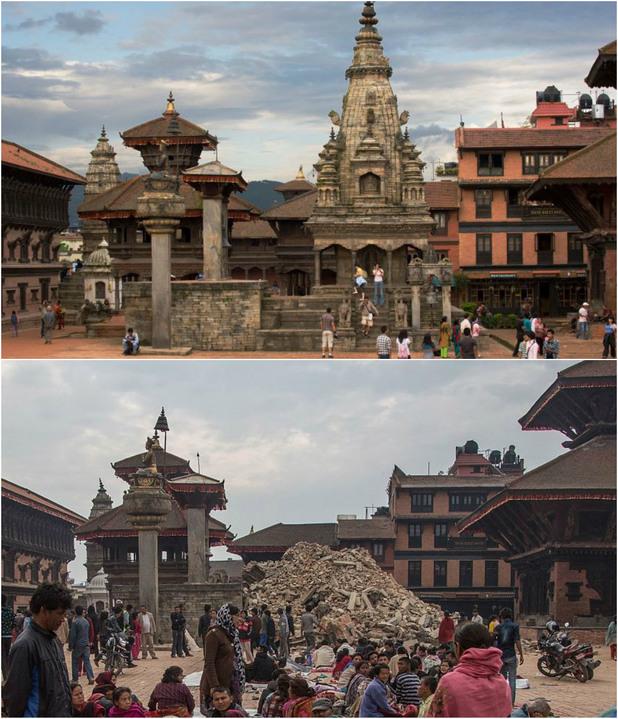 Катманду преди и след земетресението