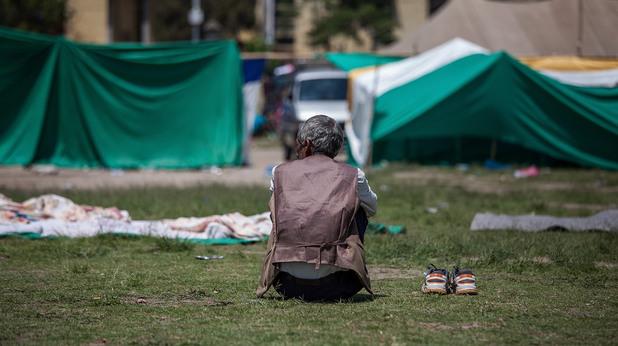 След земетресението в Непал, временен лагер