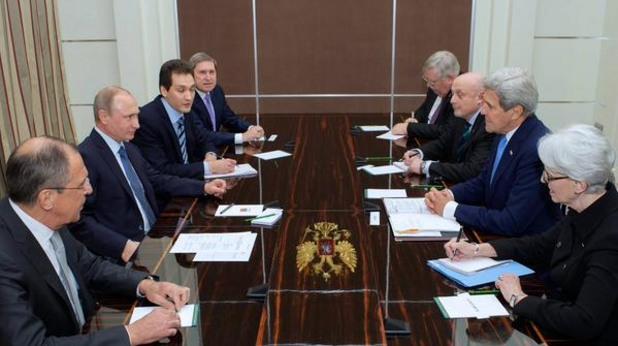 Джон Кери на среща с Владимир Путин