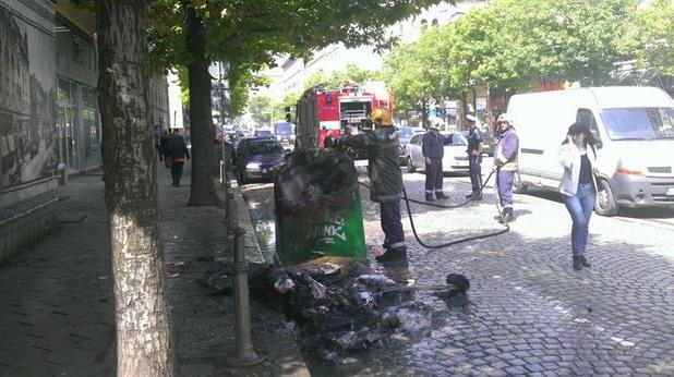 пожар в контейнер за пластмаса