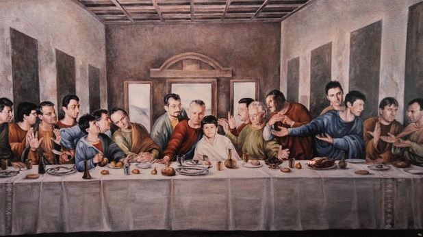 """величко адамов и колегите му от стопанската академия в свищов - стенопис по мотиви на """"тайната вечеря"""""""