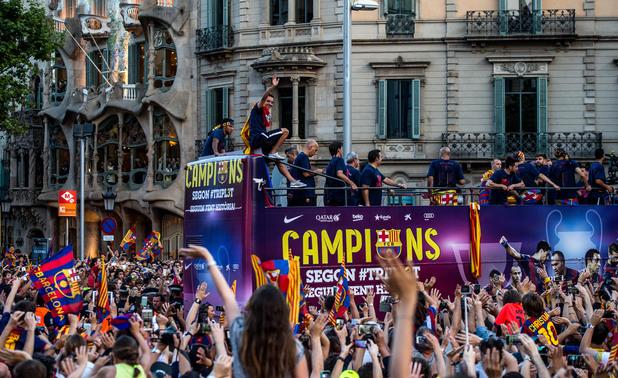 барселона, требъл, камп ноу, шампионска лига, купа на испания, примера дивисион, требъл, камп ноу, фенове, парад