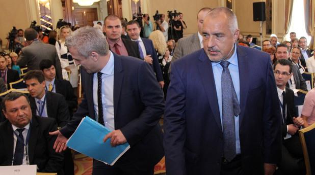 Днес, 23 юни беше открита конференция на КРИБ за здравната реформа: Бизнес диагноза. На снимката: Бойко Борисов,   Петър Москов.
