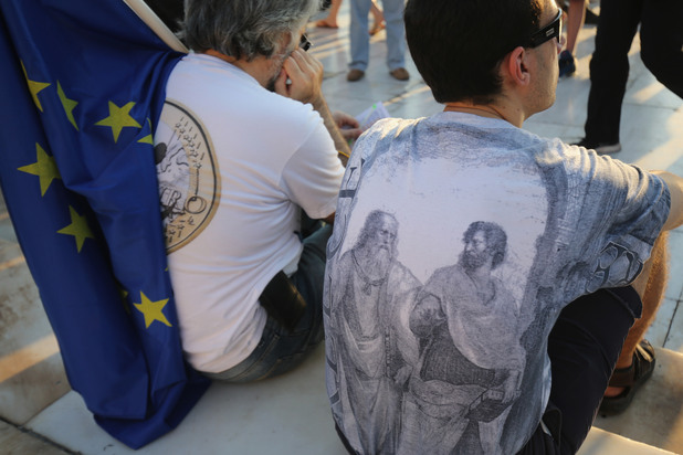 Гърци на про-европейска манифестация в Атина - 9 юли