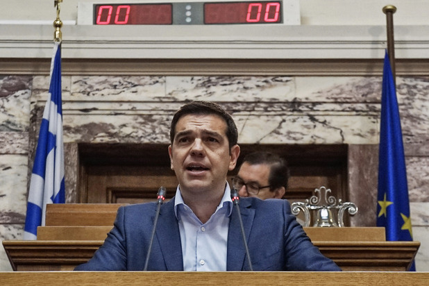 алексис ципрас в гръцкия парламент