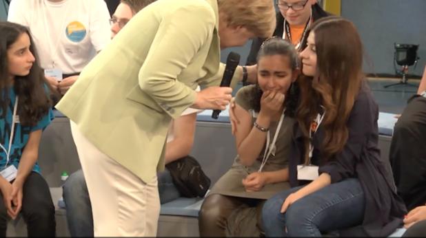 ангела меркел разплака палестинско дете