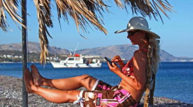 лято, плаж, море, телефон, смартфон
