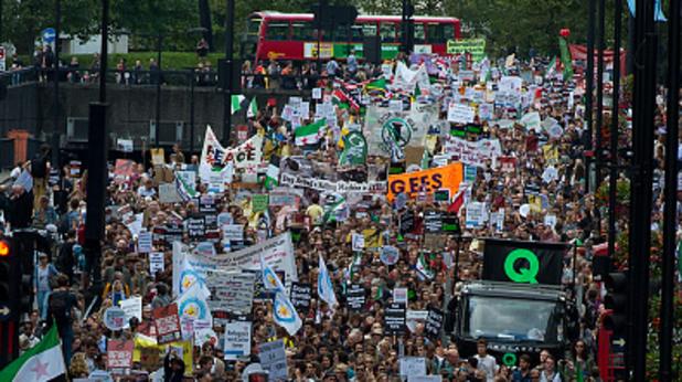 лондон, демонстрация, протест, бежанци