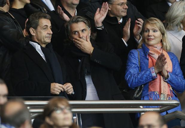Никола Саркози, Венсан Лабрюн (президент на ОМ) и Маргарита Луи-Драйфус (собственик на ОМ)