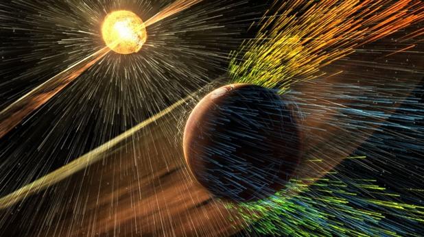 наса, марс, слънчева буря