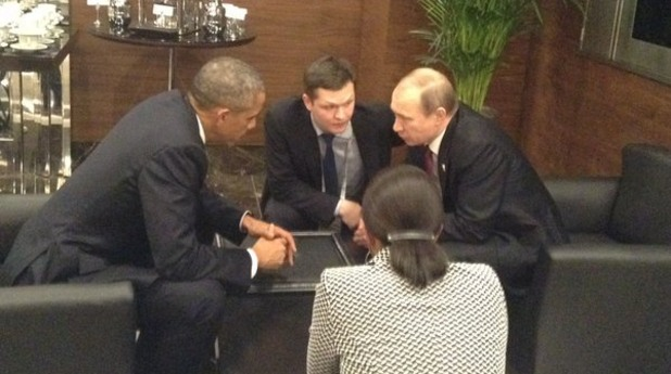 Барак Обама и Владимир Путин на срещата на Г20