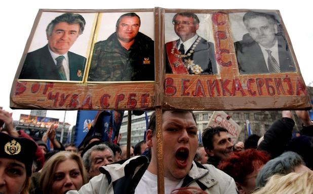 митинг в сърбия в подкрепа на радован караджич, ратко младич, воислав шешел