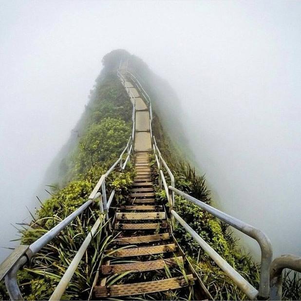 """Популярна някога """"Стълба в небето"""", Оаху, Хавай"""