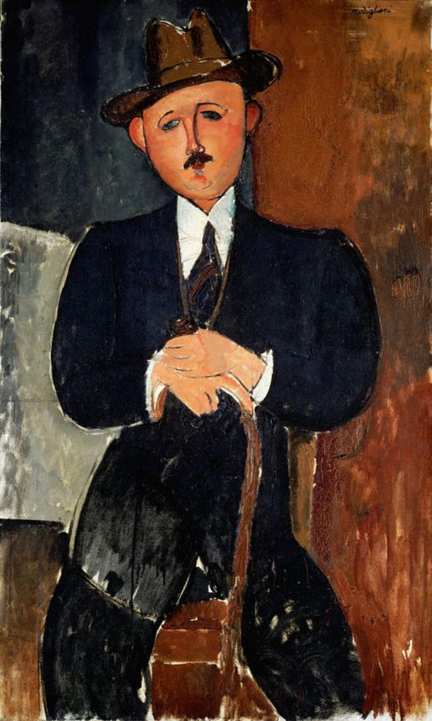 """модиляни, 1918 - """"седнал мъж с бастун"""""""