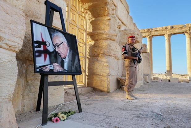 паметен портрет на убития от идил главен археолог на палмира