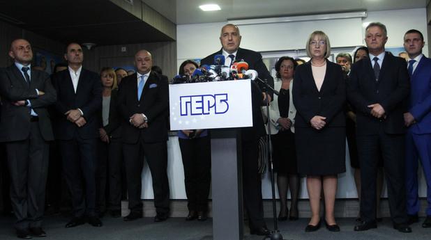 Бойко Борисов и Цецка Цачева на пресконференцията след обявяване на резултатите от балотажа