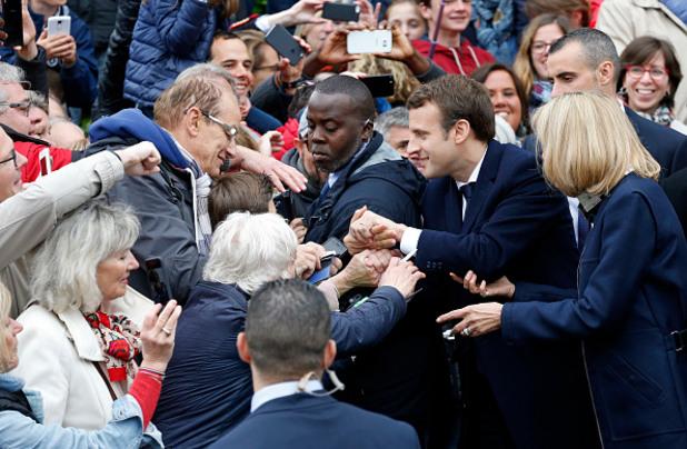 Еманюел Макрон в деня на президентските избори