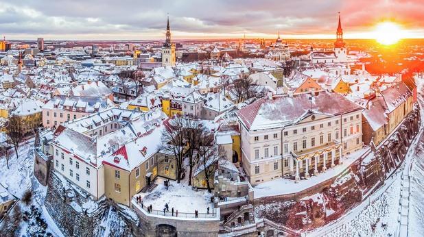 естония, талин, панорама, зима